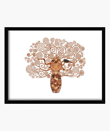 Cuadro Kokeshi El árbol de la vida estilo...