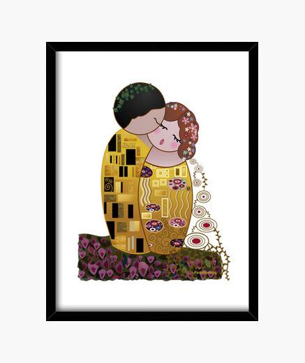 Cuadro Kokeshi El Beso estilo Klimt