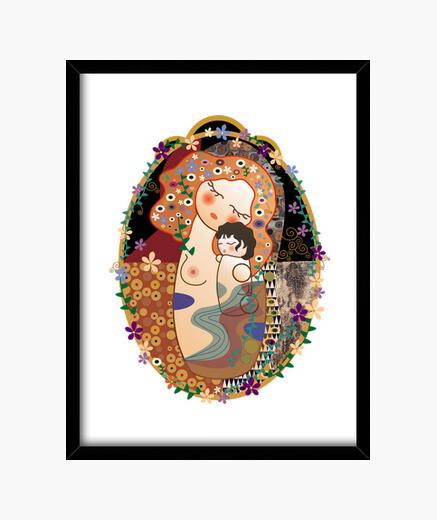 Cuadro Kokeshi Maternidad estilo Klimt