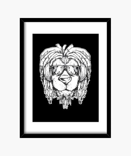 Cuadro león con gafas de sol rasta jamaica