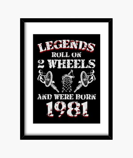 Cuadro leyendas sobre 2 ruedas 1981 nacido...
