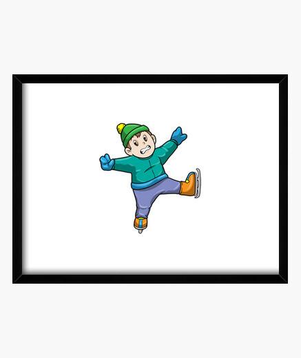 Cuadro niño en patinaje sobre hielo con...