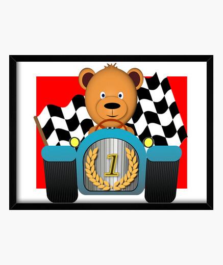 Cuadro oso de peluche, campeón, coche de...