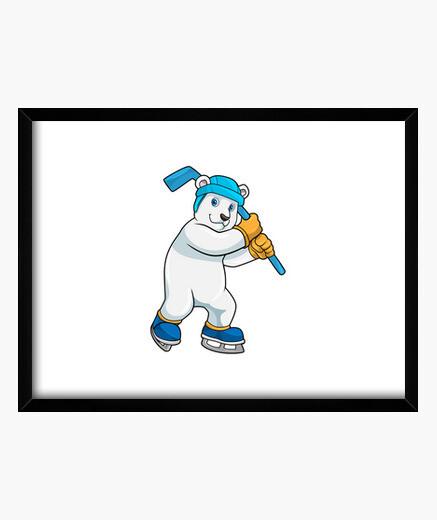 Cuadro oso polar en hockey sobre hielo con...