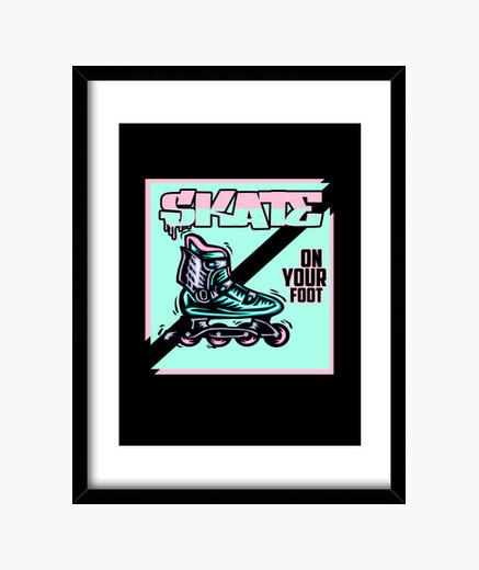 Cuadro patinar en su pie patines de...