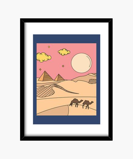 Cuadro pirámide retro sol del desierto