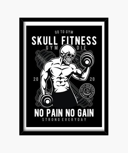 Cuadro Skull Fitness Deporte Gym Skulls No...