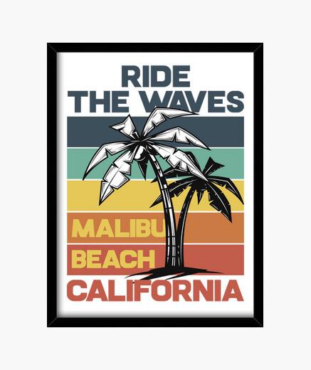 Cuadro Summer Surfing California Malibú...