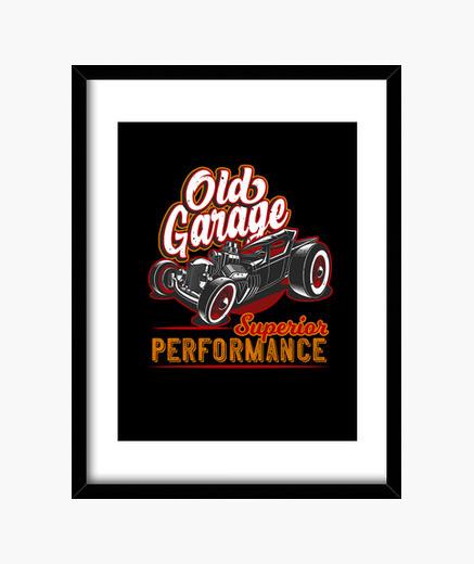 Cuadro viejo garaje hot rod california