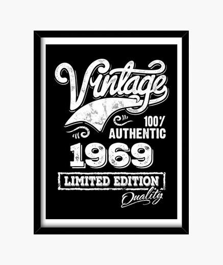 Cuadro Vintage 1969 Idea Regalo Cumpleaños Limited Edition