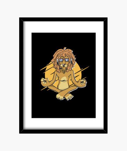 Cuadro yoga relajado león meditación...