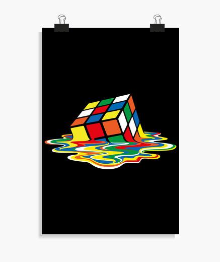 Póster Cubo Rubik derretido