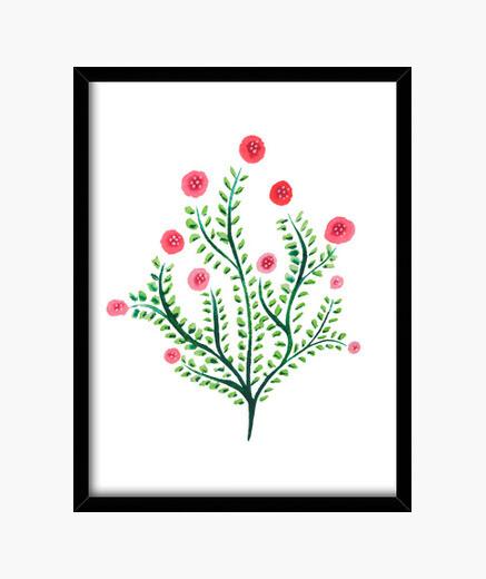 Cadre dessin abstrait d'encre de plante d