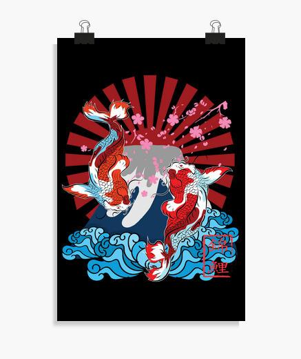 Poster Deux poissons koi asiatiques sur la...