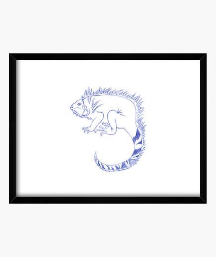 Cuadro Dibujo A Pluma Iguana Nº 1693488 Cuadros Latostadora