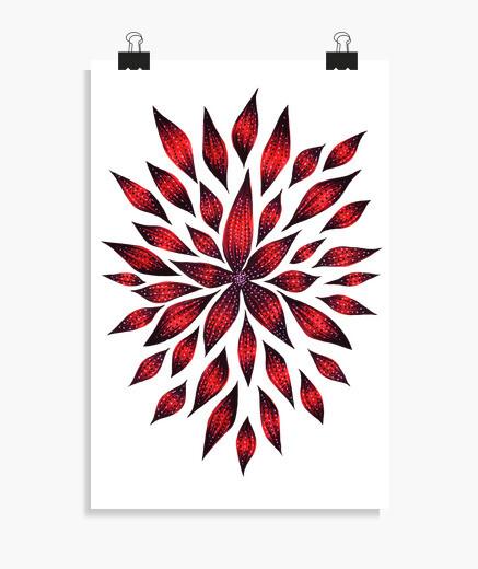 Póster dibujo de doodle de flor roja abstracta