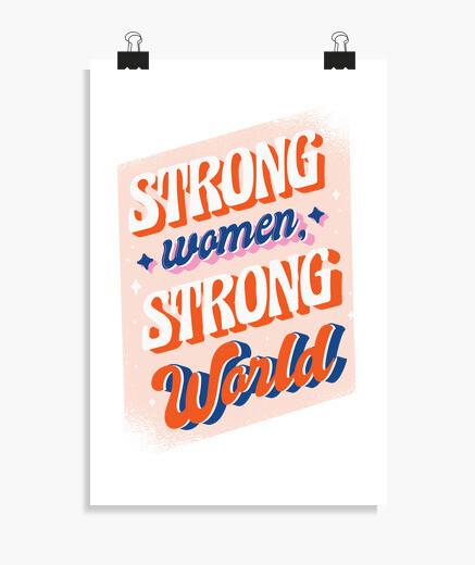 Poster donna forte mondo forte
