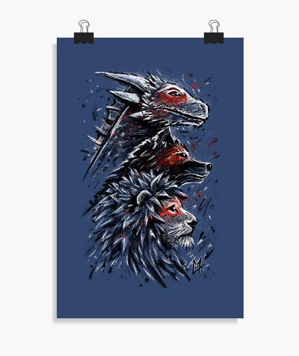Dragon wolf lion poster