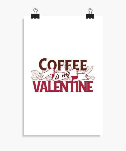 Póster el café es mi san valentín