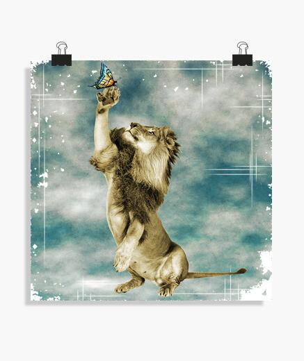 Póster el león y la mariposa