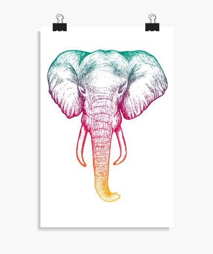 Póster Elefante holografico poster