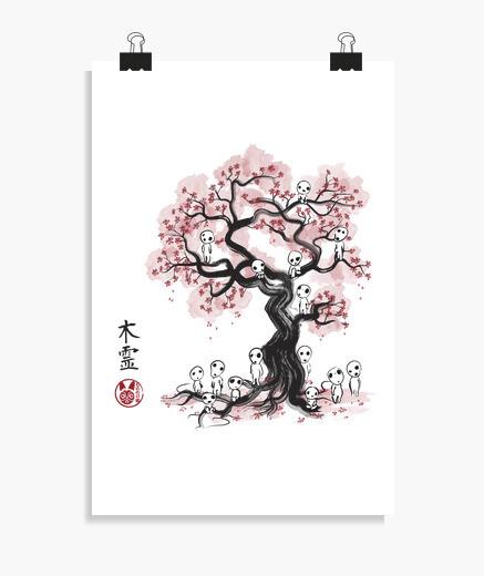 Poster esprits de la forêt sumi-e