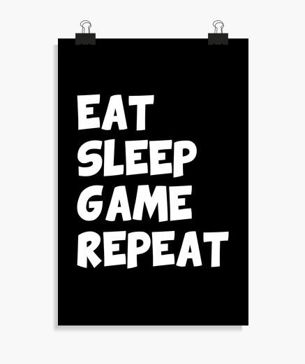 Poster essen Schlaf Spiel wiederholen