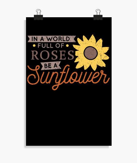 Poster essere un girasole tra le rose vintage