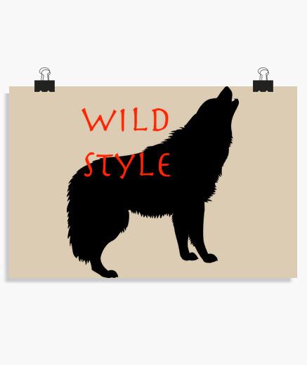 Póster estilo salvaje el lobo