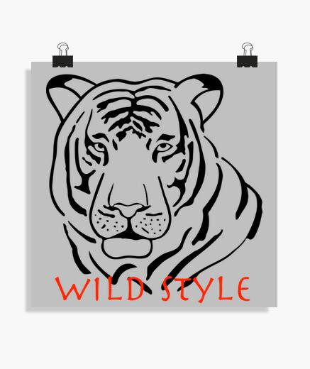 Póster estilo salvaje el tigre