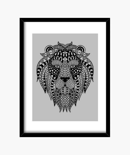 Ethnic lion framed print