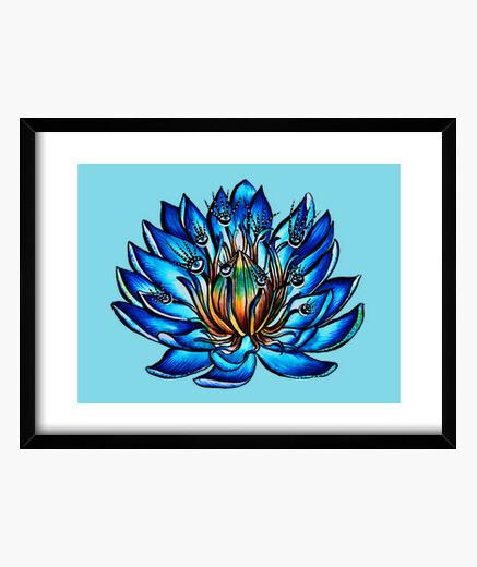 Cuadro extraña flor de lirio de agua azul de ojos múltiples