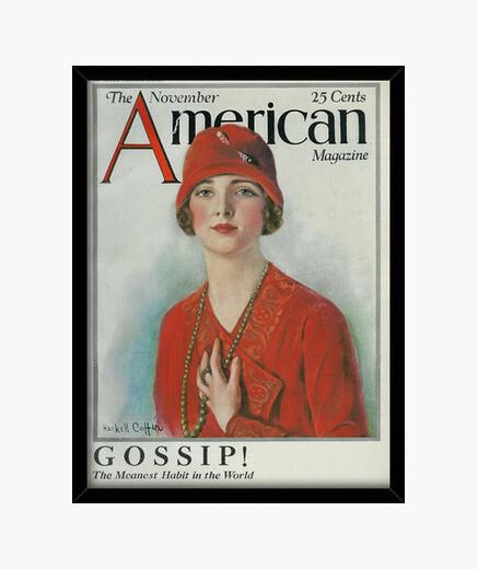 Cadre femme avec chapeau rouge, magazi américain