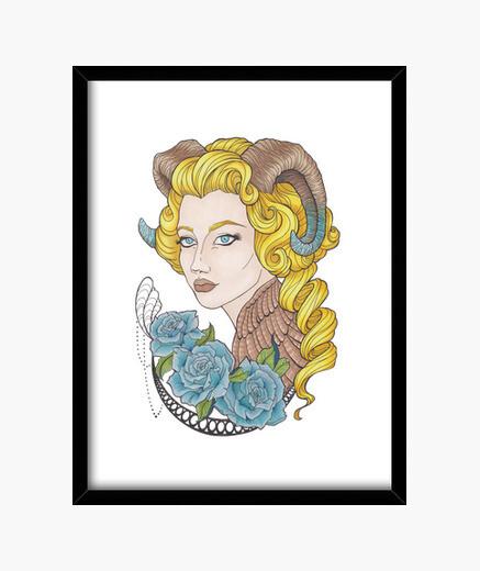 Cadre fille avec des cornes et des roses bleues