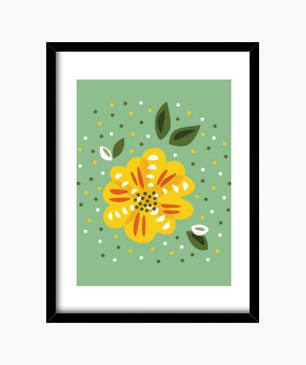 Cadre fleur jaune primevère