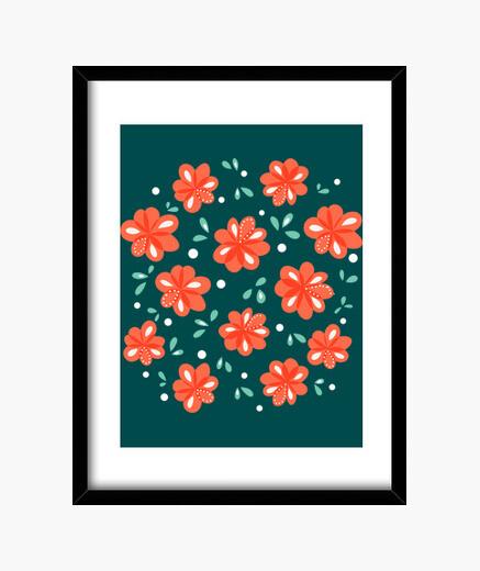 Cadre fleurs rouges joyeuses
