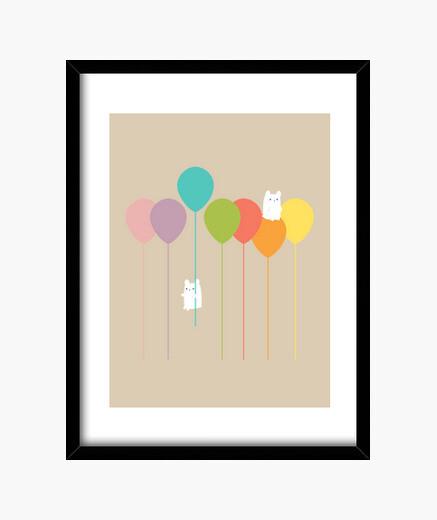 Cuadro Fluffy bunnies and the rainbow balloons