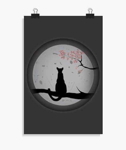 Póster Gato contemplando la luna