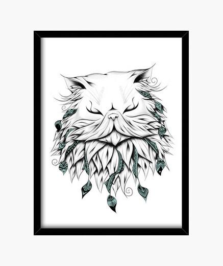 Cuadro gato persa poético