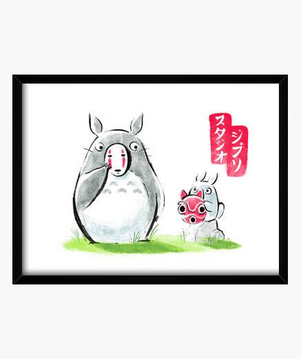 Cuadro Ghibli ink print