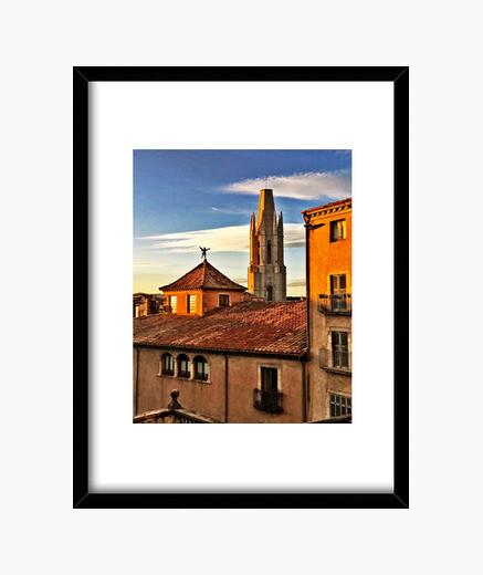 Girona - Cuadro con marco negro vertical 3:4 (15 x 20 cm)