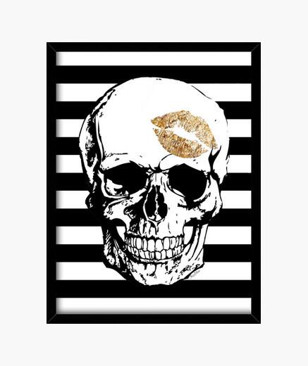 Golden skull kiss framed print