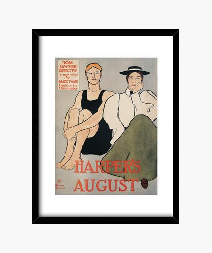 Harper august, edward penfield framed print