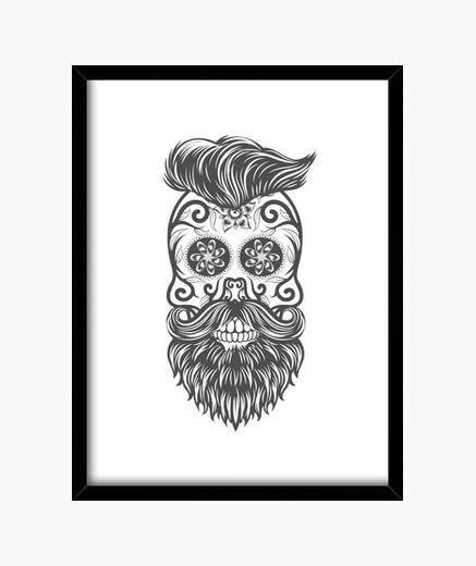 Hipster sugar skull 1 framed print