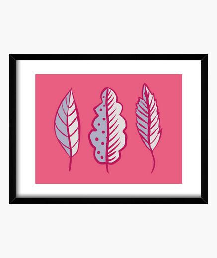 Cuadro hojas abstractas rosadas azules