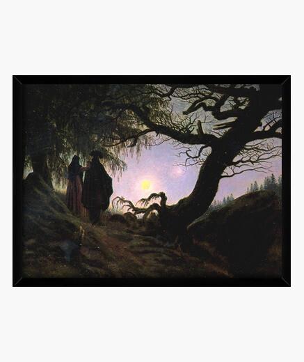 Cadre homme et femme contemplant la lune