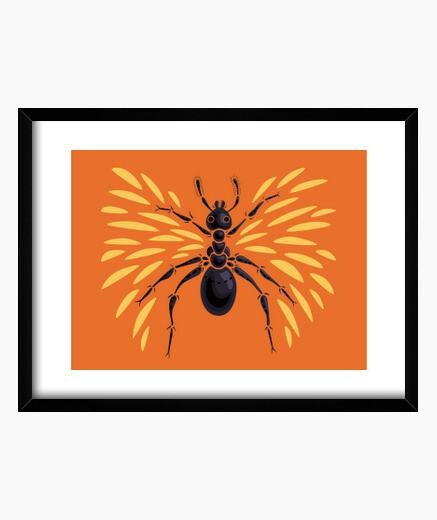 Cuadro hormiga con alas abstracta fresca