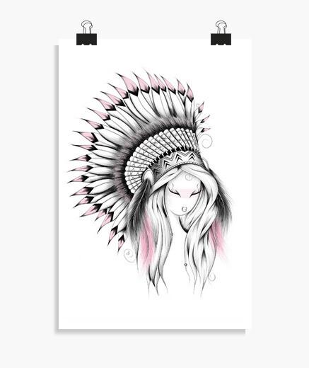 Poster Indian Headdress Pink Version