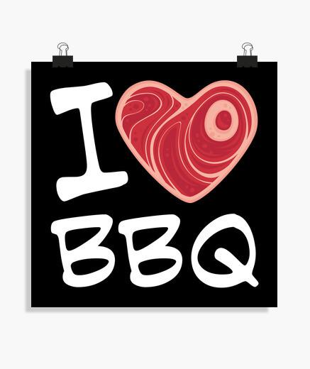 Poster j'adore le barbecue - texte blanc