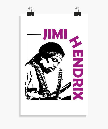 Póster Jimi, guitarra y rock